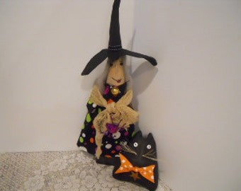 Halloween WITCH Doll, Elvira and Winthrop the Cat