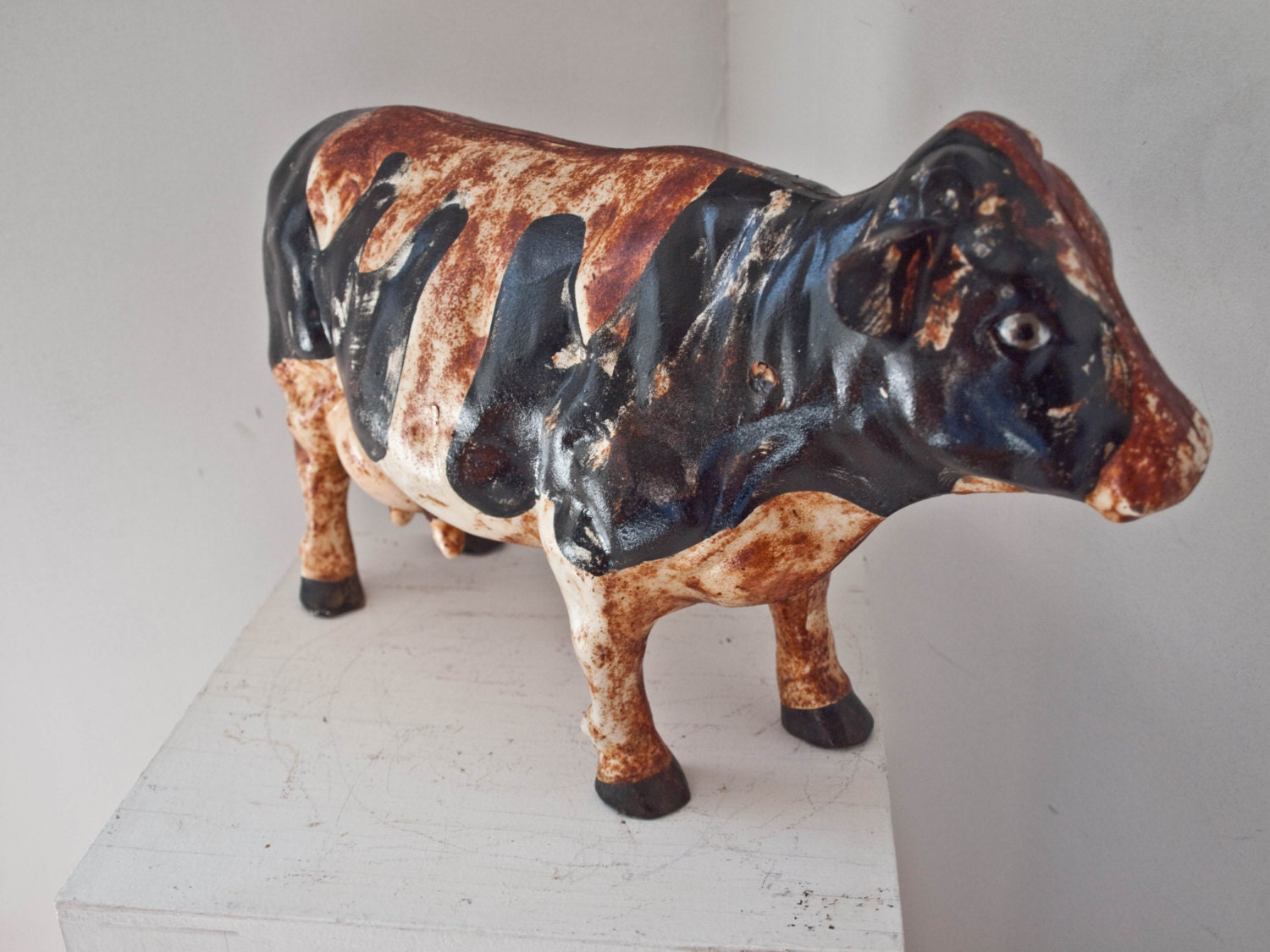 Antique Rustic Cast Iron Cow Door Stop