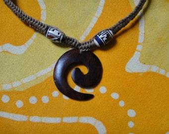 Carved Koru Spiral Peruvian Ceramic Bead Tribal Hemp Necklace Mens Choker