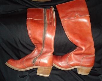 Burnt Orange TALL Leather BOHO Vintage 1970's Women's Hippie Boots 7