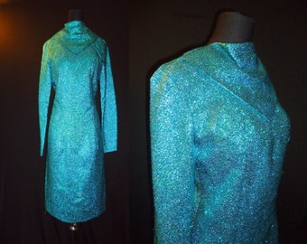 Metallic Blue Green Vintage 1950's 1960's Women's Cocktail Showstopper Dress S M