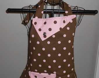 Brown with Pink Polka Dots Women's Apron