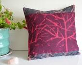 Hand Painted Tree Pillow - Plum Throw Pillow - Magenta Pillow - Denim and Linen Colorblock Pillow Cover - Textile Pillow - Tree of Life