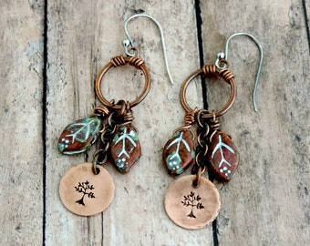 Autumn Leaves Earrings - Forest Inspired Tree - Fall Colors - Nature Inspired - Fall Fashion - Stamped Jewelry -  Copper Earrings