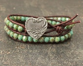 Silver and Turquoise Heart Bracelet Colorful Artisan Heart Jewelry Bohemian Turquoise Valentine's Jewelry