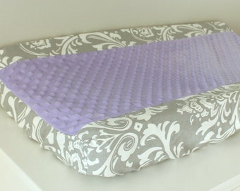 Gray damask with lavender accent contour cover