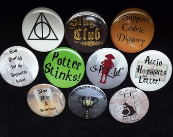 "Set of 10 Harry Potter Inspired 2.25"" Pinback Buttons"
