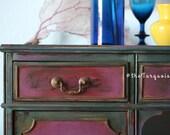 Amazing Magenta & Teal Handpainted Vintage Vanity / Desk / Wine Bar / Coffee Bar