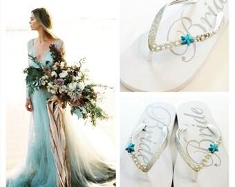 WEDDING Flip Flops!Bridal Flip Flops/Wedges.Bridal Shoes.Beach Wedding.Bling Flip Flops.Rhinestone Shoes.Wedding Shoes.Bridal Sandals.