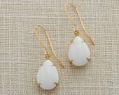 White & Gold Tear Drop Earrings French Hook Pear Teardrop Opaque Paste Cabochon Stones Wedding Earrings Bridesmaid Handmade Ritzy Rose 15mm