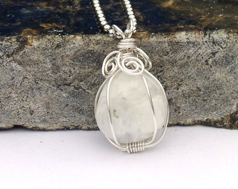 Rainbow Moonstone Necklace Swirly Wire Wrapped
