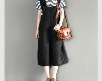 Casual Loose Fitting Linen Suspender Slacks Overalls -Black Pants - Women Clothing