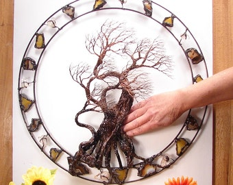 Metal Tree art, wire Tree Of Life Sculpture, Circle of Life Passage, gemstone wall window decor, unique home decor art, crowsfeathers, 19""