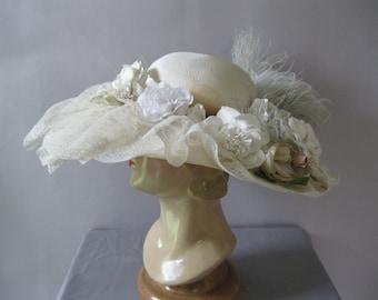 Kentucky Derby Hat - Edwardian Style Tea Hat - Downton Abbey - Ivory Blue Straw Ascot Hat - Wedding Hat