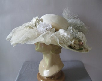 Edwardian Style Hat - Kentucky Derby Hat - Ivory Lace Feathers Flowers - Wedding Hat