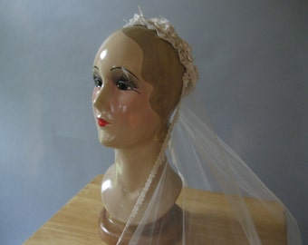 1970s Wedding Veil - Floral and Lace Vintage Crown -70s Ivory Net - Cathedral Veil - Priscilla - Peach Ribbon Trim