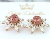 Bridal Blush Earrings, Bridal Pink Blush Earrings, Swarovski Blush Earrings, Swarovski Bridal Earrings, Bridesmaids Earrings, Blush Studs