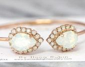 White Opal Bracelet,Swarovski Bridal Opal bracelet,Bridal Rose Gold Gold Bracelet, Bridal Bracelet, Bridesmaids Bracelet ,Open Cuff Bracelet