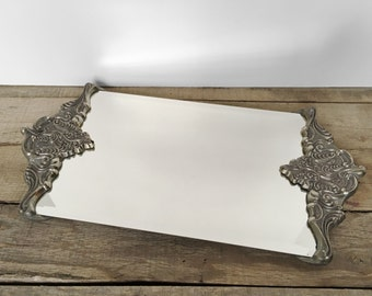 SHOP SALE! Vintage Godinger Mirrored Tray / Vanity Tray / Serving Tray / Footed / Silverplate / Bathroom Decor