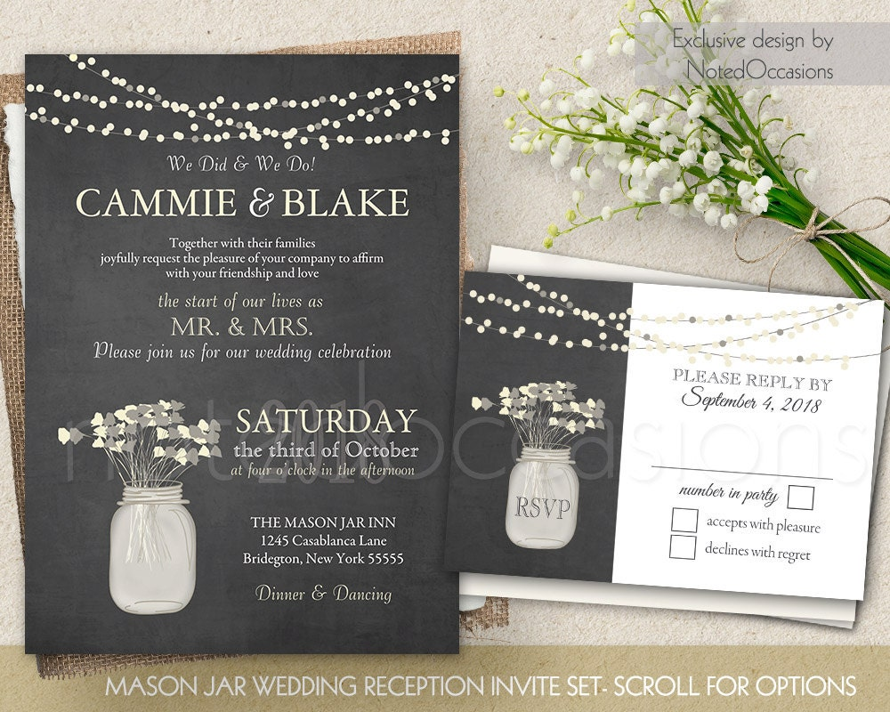 I Do BBQ Wedding Reception Only Invitation Printable Set