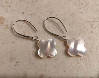 White Earrings - Mother of Pearl Jewelry - Quatrefoil Gemstone Jewellery - Sterling Silver - Luxe