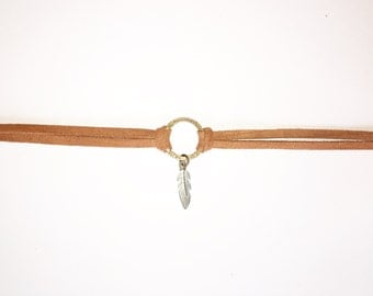 Silver Feather Suede Choker