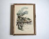 Vintage mid century seascape/ Francis Chase/ American artist/ watercolor print/barnwood