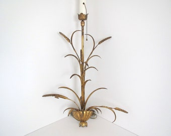 Vintage gold wheat lamp/ Hollywood Regency/ glam/ wall lamp/hanging  ornate gold lamp w shade