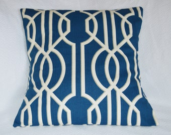 Navy and White Lattice Design with Taupe Outline Detail 20x20 Pillow Cover