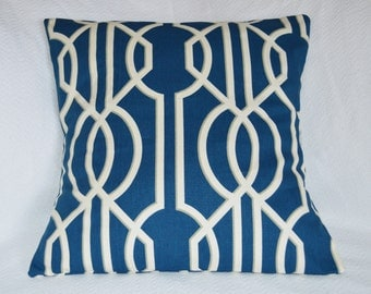 CLEARANCE!! Navy and White Lattice Design with Taupe Outline Detail 20x20 Pillow Cover