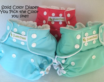 SweetPees Cloth Diaper Cover w2 FREE Zorb Inserts  Solid Color Choice YOU PICK All in One Bundle All in One Size Girls Boys Gender Neutral