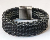 Leather woven bracelet reversible black gray