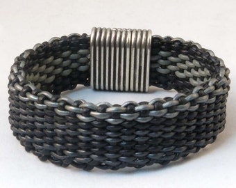 Leather woven black and gray bracelet reversible