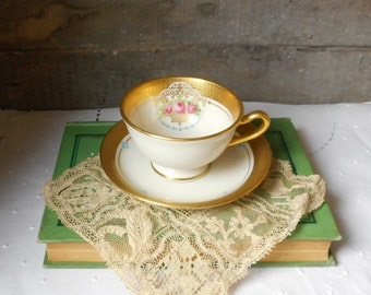 Antique Porcelain Demitasse Cup and Saucer Lenox K46 1913 Ivory with Pink Rose Gold Trim Fine China Collectible Home Decor