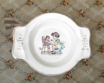 Vintage Child's Plate Bowl w Handles Spoon Fork Rest 1940s Nursery Decor