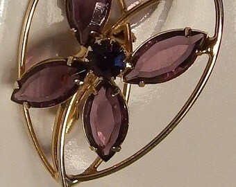 DISCOUNTED Simple --- Vintage Purple Floral brooch --Lavender Glass ---Purple Rhinestone accent