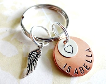 Memorial Keychain - Loss of Loved One - Personalized Hand Stamped Key Chain - Copper Disc, Nickel Silver Disc & Angel Wing Charm