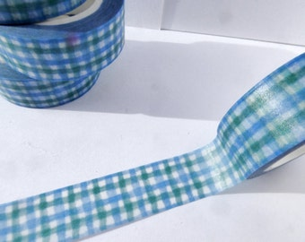 Gingham Washi Tape in Blue and Green Stripes - Paper Tape Great for Scrapbooking Paper Crafts and Decorations and Celebrations 15mm x 10m