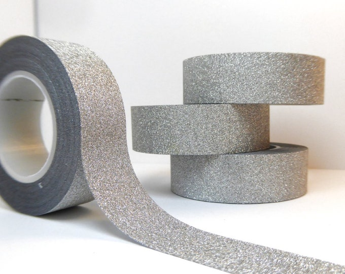 Glitter Washi Tape in Silver -  Paper Tape Great for Scrapbooking Paper Crafts and Holiday Decorations 1 roll 15mm x 10m