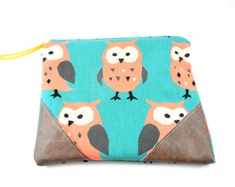 Owl and Vegan Leather Zippered Pouch