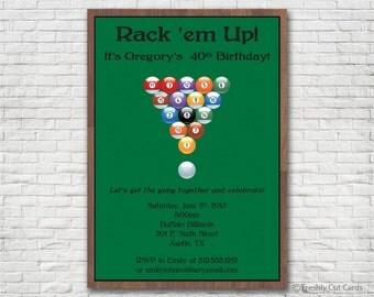 Rack em Up Billiards Invitation - Printable or Printed (w/ FREE Envelopes)