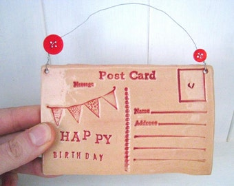 Happy Birthday - Ceramic postcard with vintage buttons. Made in Wales, UK.  Ready to Ship.
