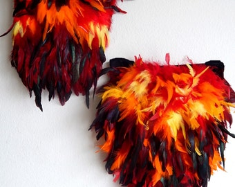 Phoenix FIRE Bird Costume Corset and Fluffy Tail Feathers