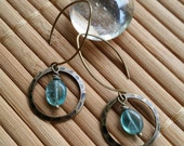 Just A Touch Earrings in Aged Brass w/Balloon Style ear wires & Genuine Apatite gemstones-Hoop-Circle-Small-Petite-Casual-Light weight-Green