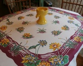 """Pretty 1950s Vintage Tablecloth Colorful Water Lilies Lily Design 50"""" x 47 1/4"""""""