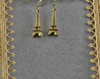 Handmade Eiffel Tower Earrings With Brass Hooks 1 Inch Long