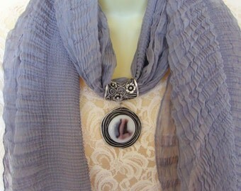 Fused glass jeweled scarf slide with matching crinkle scarf