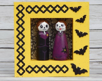 Day of the Dead Peg Doll Gothic Couple Wall Art