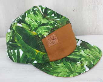 Tropical Leaves Green and White Canvas 5 Panel Camp Hat