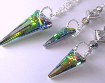 Swarovski Vitrail Medium Daggers Necklace and Earring Set on Silver